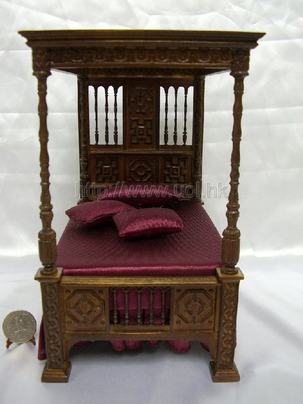 High end wooden Stately Canopy Bed for doll house