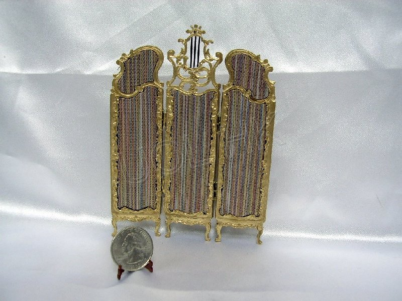 Doll house Royale Striped Gilt Screen