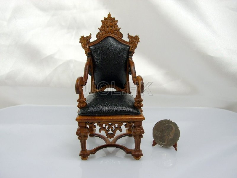 1/12 Scale Doll House Frenazie Hall Chair with black leather