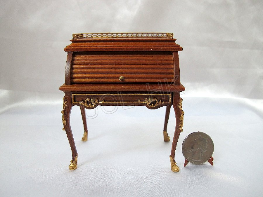 Miniature 1:12 Scale Lady's Roll Top Desk For Doll House