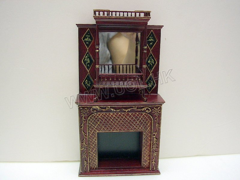 Doll house Fireplace disply (01403)--Mahogany