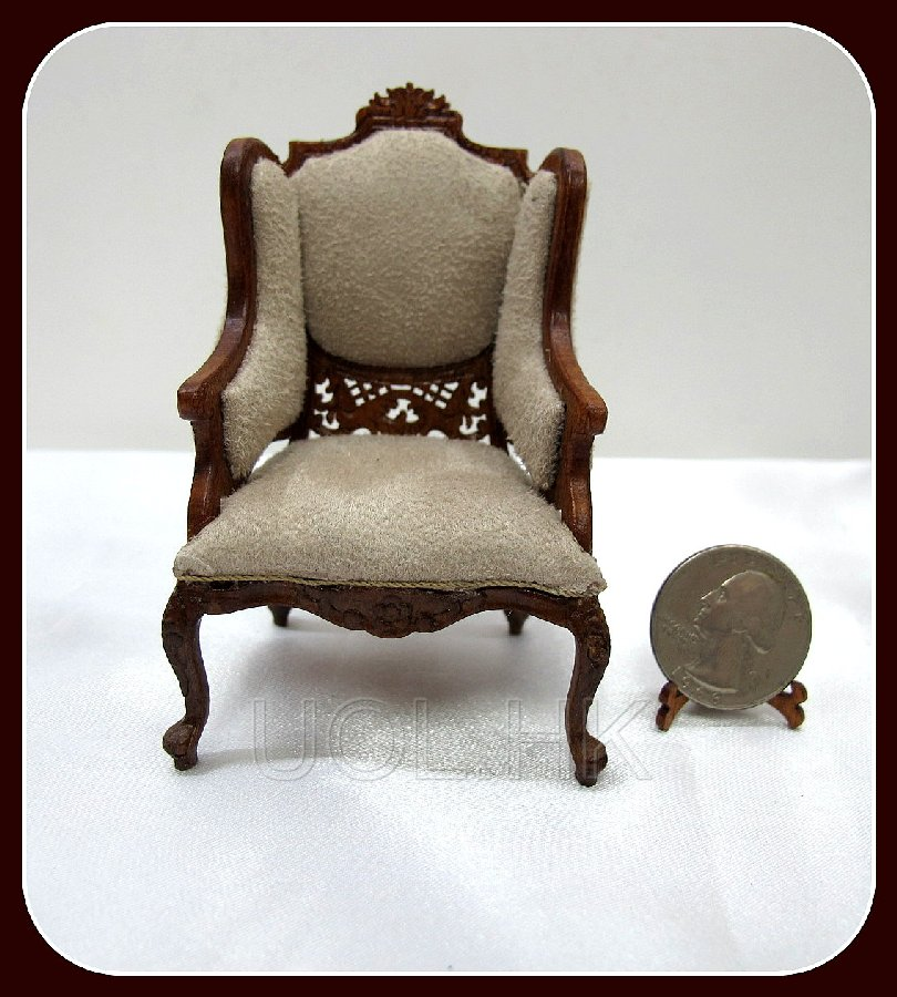 "1"" Scale Doll House Marcee Chair"