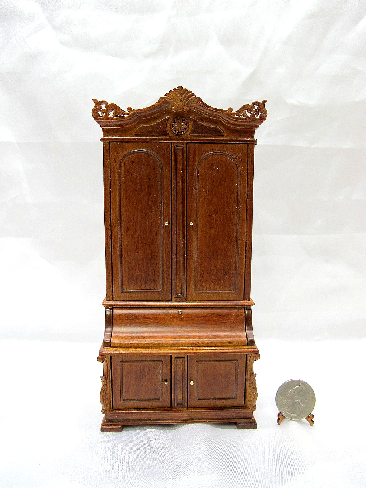 1:12 Scale Miniature Victorian Secretary With Bookcase