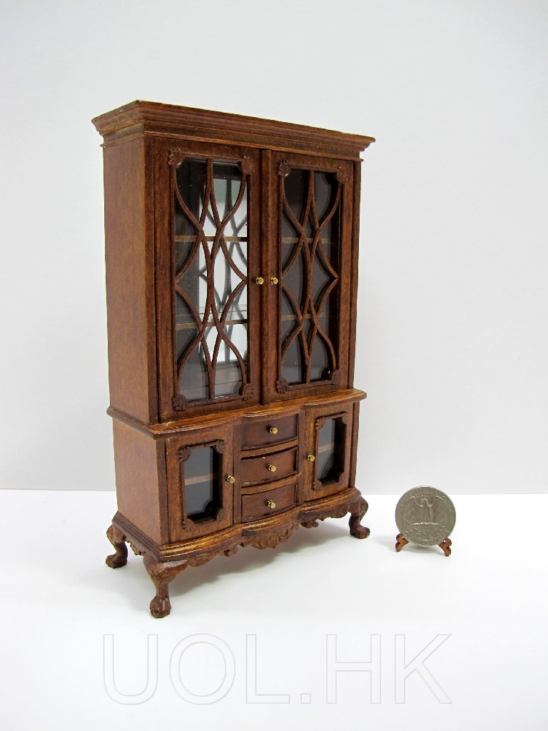 1:12 Scale Doll House Miniature Walnut Cabinet