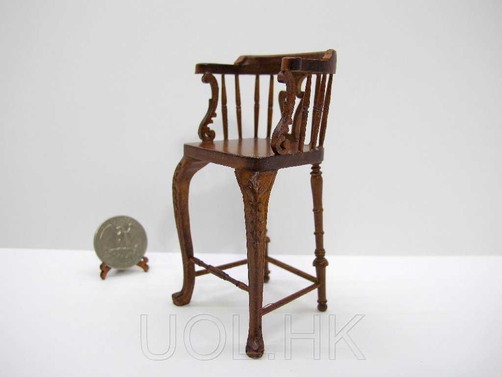 1:12 Scale Miniature Doll House Castle Bar Stool--Walnut
