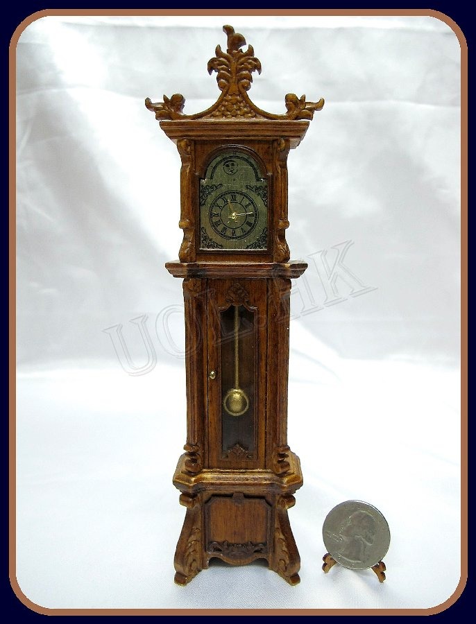 1:12 Scalce Grandfarther Clock Finished In Walnut(non working)