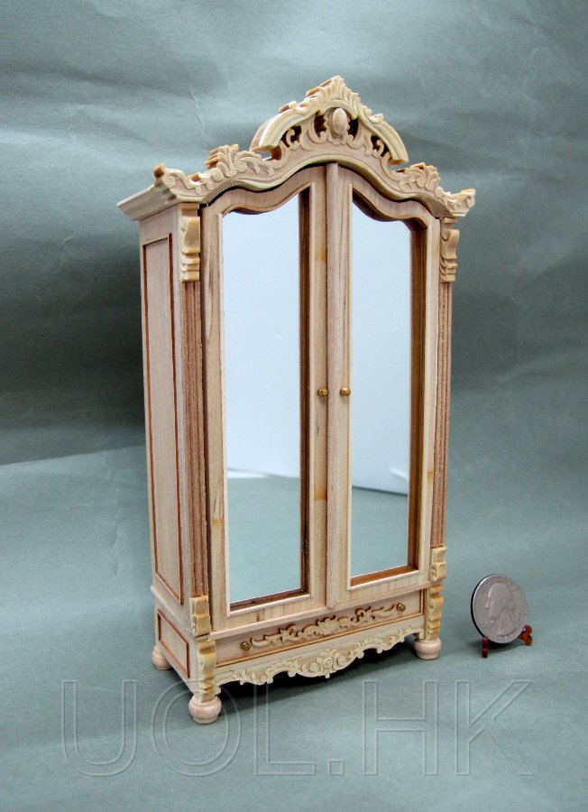 1:12 Scale Miniature Madam's Armoire-- Unfinished