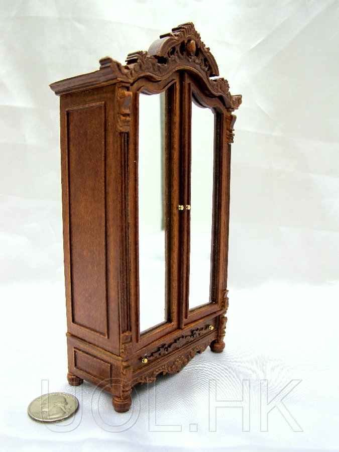 1:12 Scale Miniature Madam's Armoire--Walnut