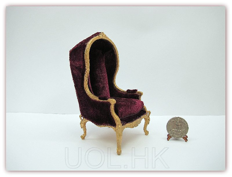 1:12 Scale Miniature Doll House Hooded Chair