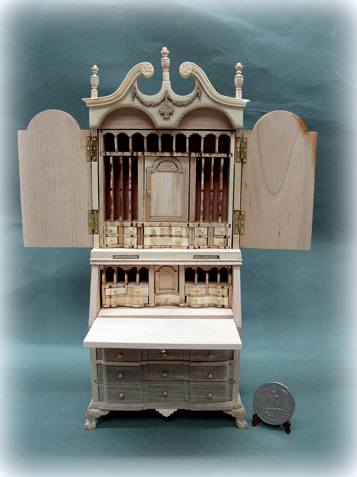 1:12 Scale Doll House Block Front Secretary Desk-Unpainted