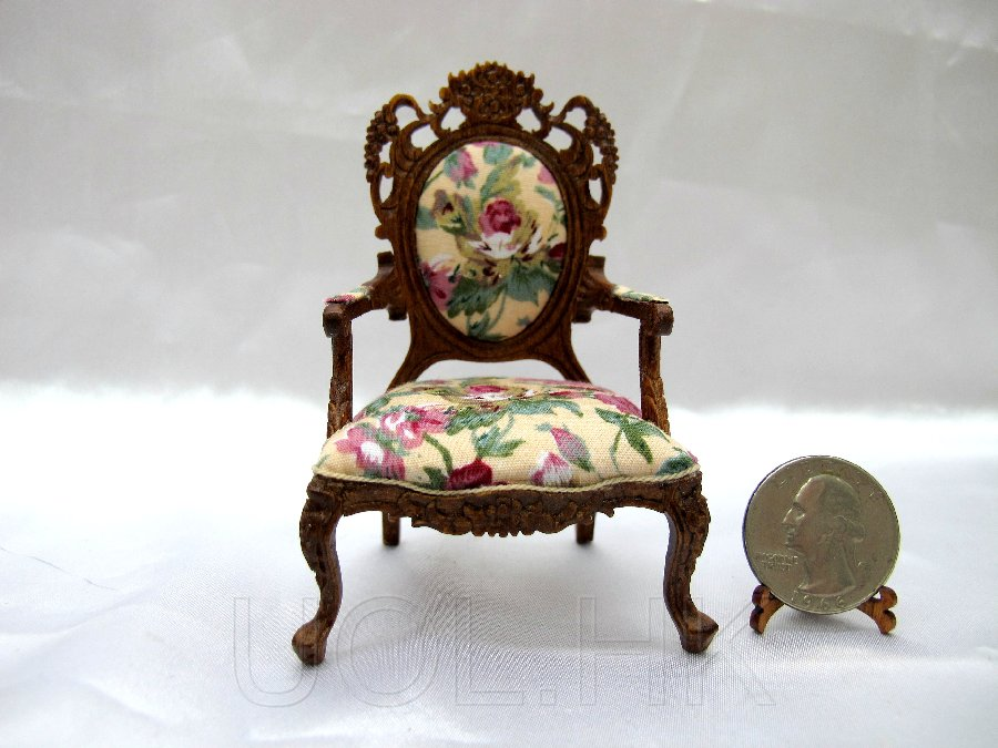 1:12 Scale Doll House Victorian Open Arm Chair