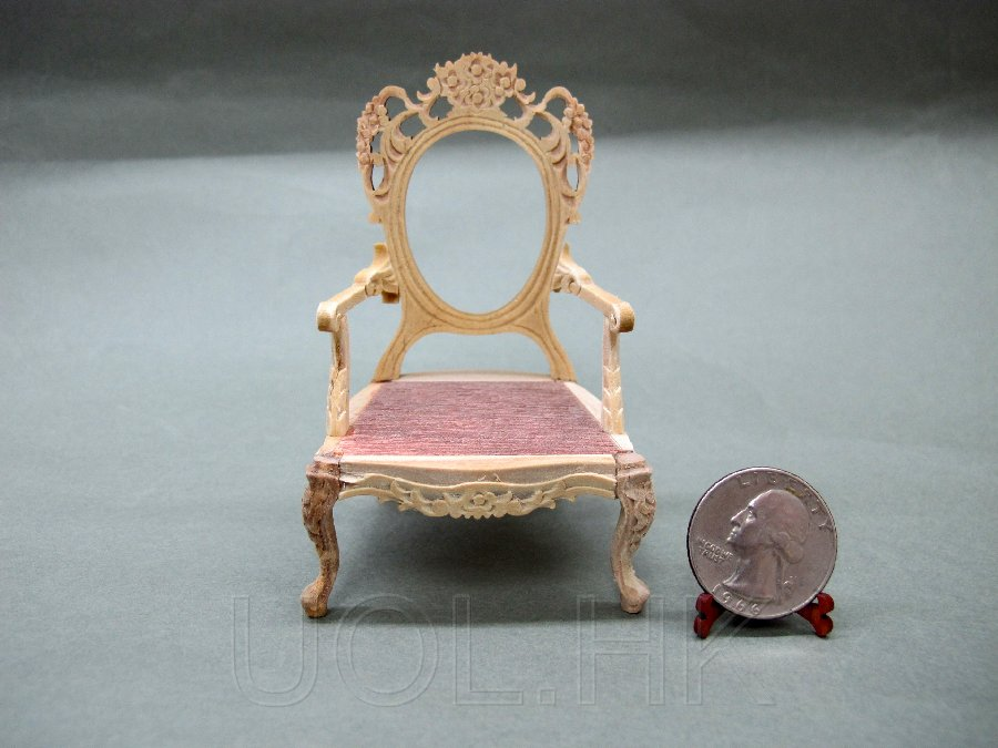 1:12 Scale Doll House Unfinished Victorian Arm Chair Frame