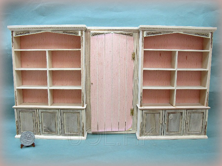1:12 Scale Of Doll House Unfinished Bookcase Wall