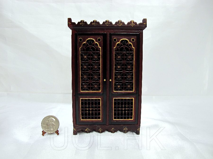 "Miniature 1"" Scale Doll House Wooden Casbah Armoire [MH]"