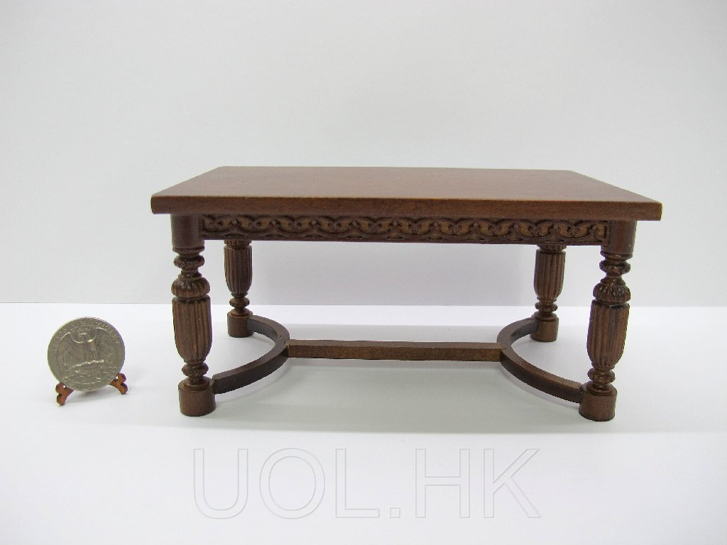 1:12 Scale Doll House Rectangle Dining Table-Dark Walnut