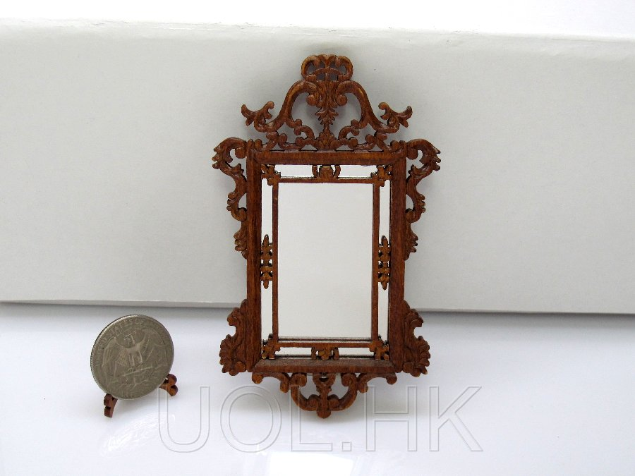 "Miniature 1""Scale Doll House Le Petit Paulinese Mirror"