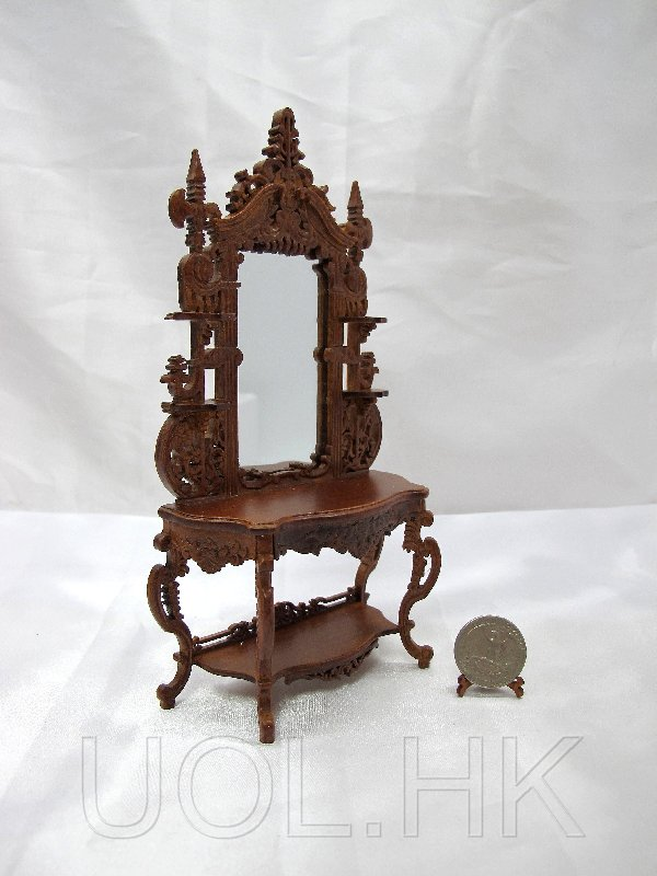 Wood Caved Miniature 1:12 Scale Gothic Hall Console Table