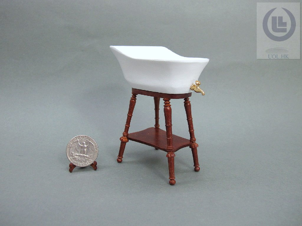 Wood Carved 1:12 Scale Miniature Baby Bathtub For Doll House