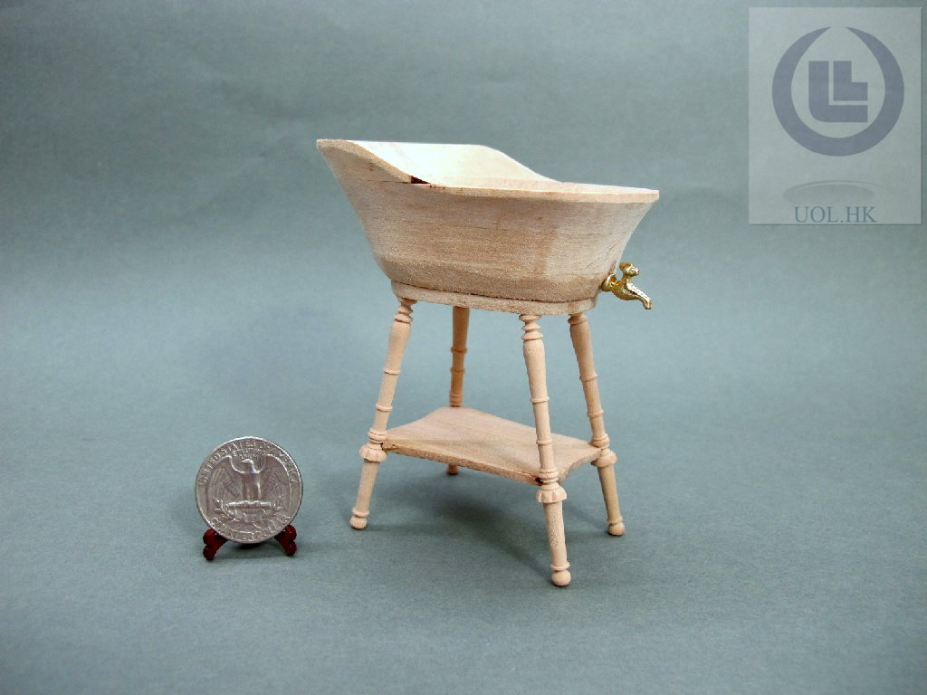 Wood Carved Unpainted 1:12 Scale Baby Bath For Doll House