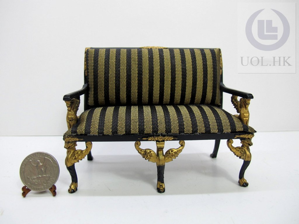 Wood Carving 1:12 Scale Miniature Empire Seat For Doll House