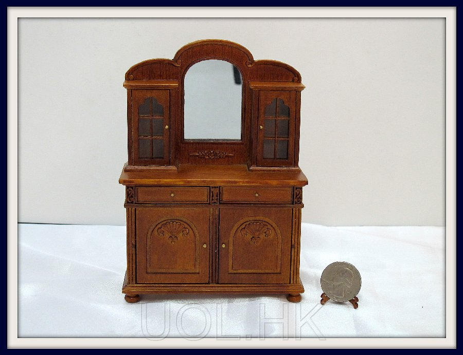 Miniature 1:12 Scale  Of Doll House Cupboard[Finished in walnut]
