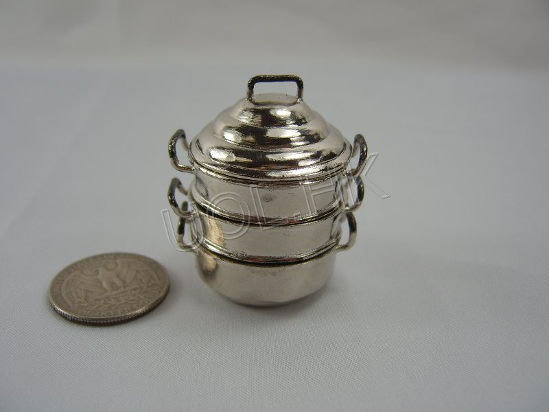 Miniature Stainless steel steamer pail for doll house