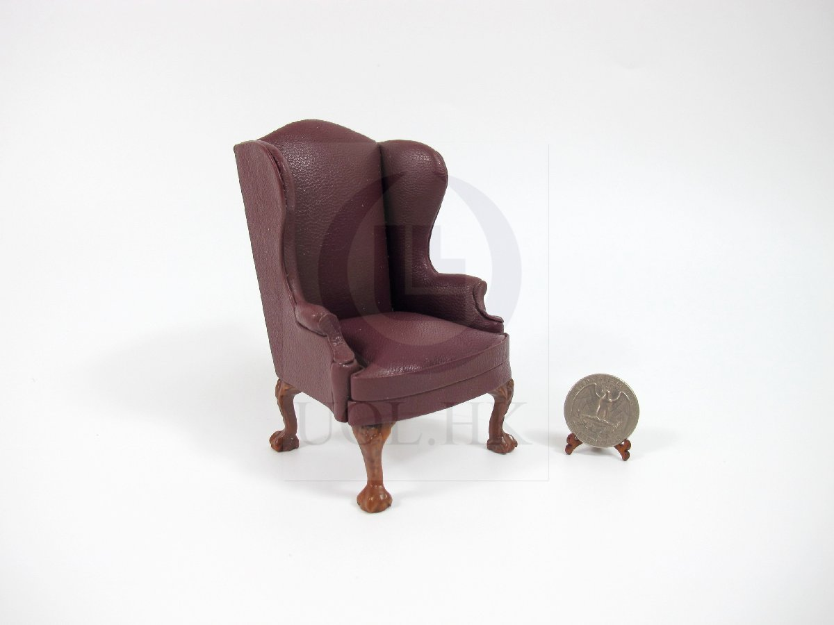 1:12 Scale Miniature Leather Fabric Wing Chair For Doll House