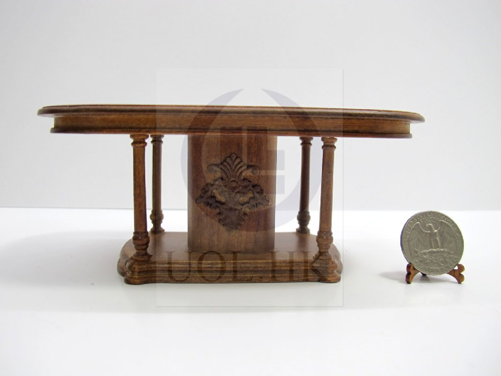 1:12 Scale Doll House Oval Exquisitely Carved Dining Table