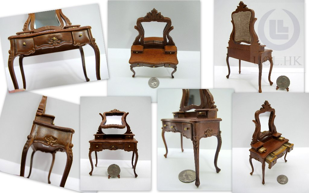 Miniature 1:12 Scale Louis XV Style Dressing Table For Dollhouse