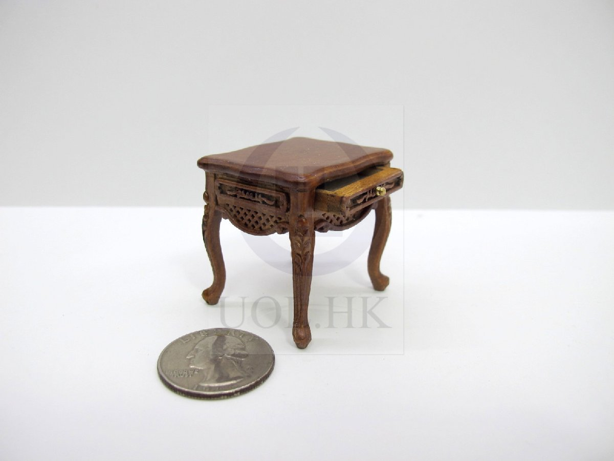 Wood Carved 1:12 Scale Miniature Dressing Stool For Doll House