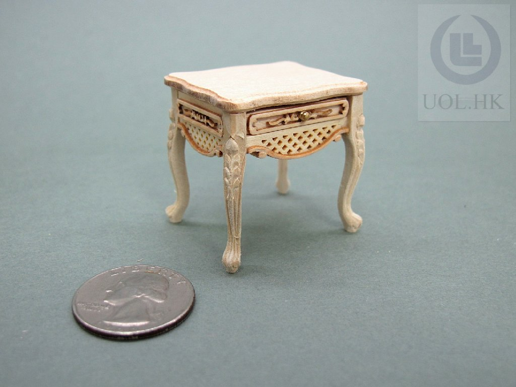 Wood Carved 1:12 Scale Miniature Unpainted Dressing Stool