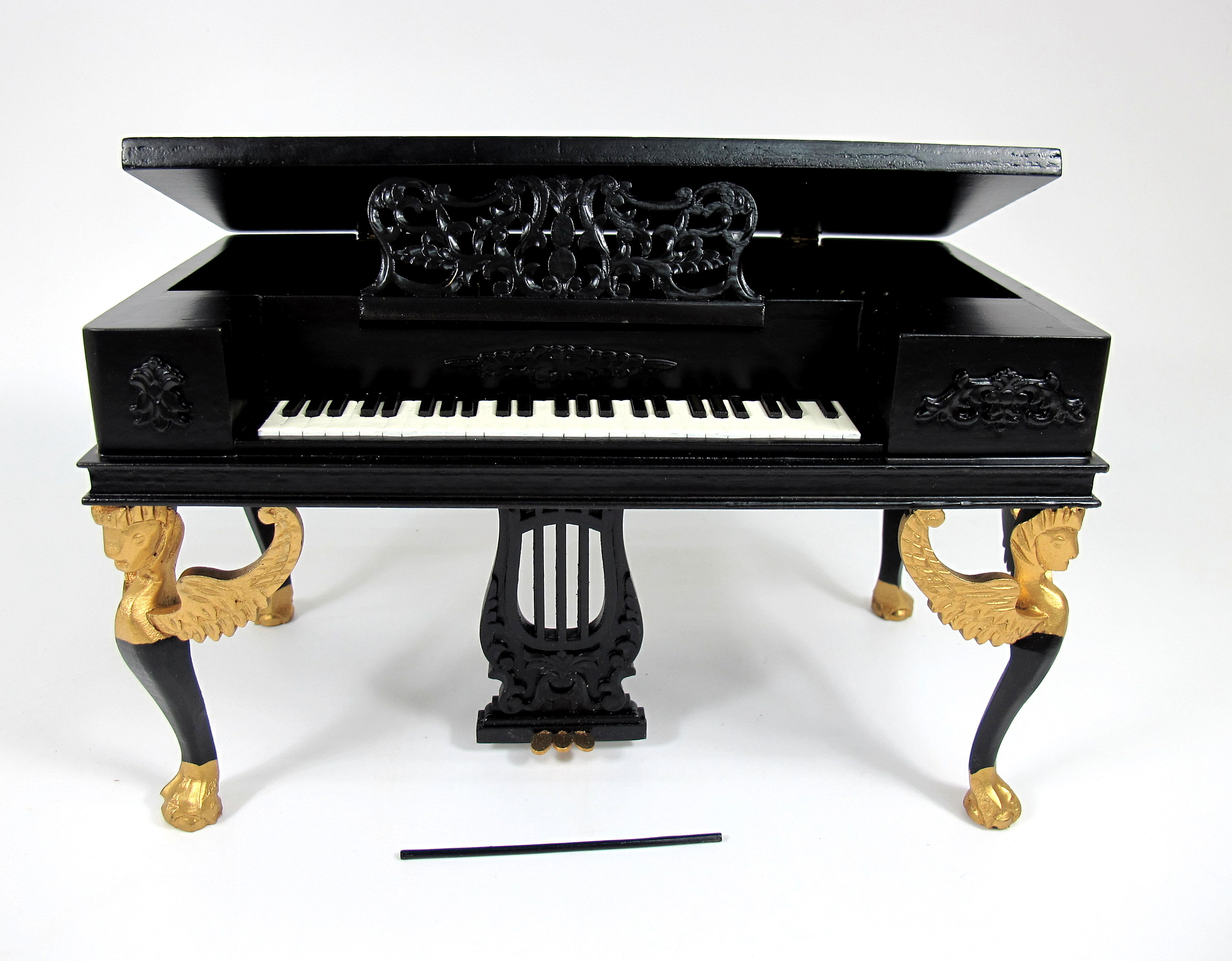 Wooden 1:6 Play Scale Victorian Black Piano [Made of wood]
