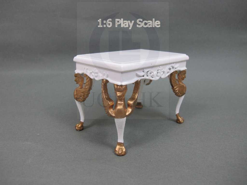 1:6 Play Scale Victorian White Stool For Barbie/FR Doll