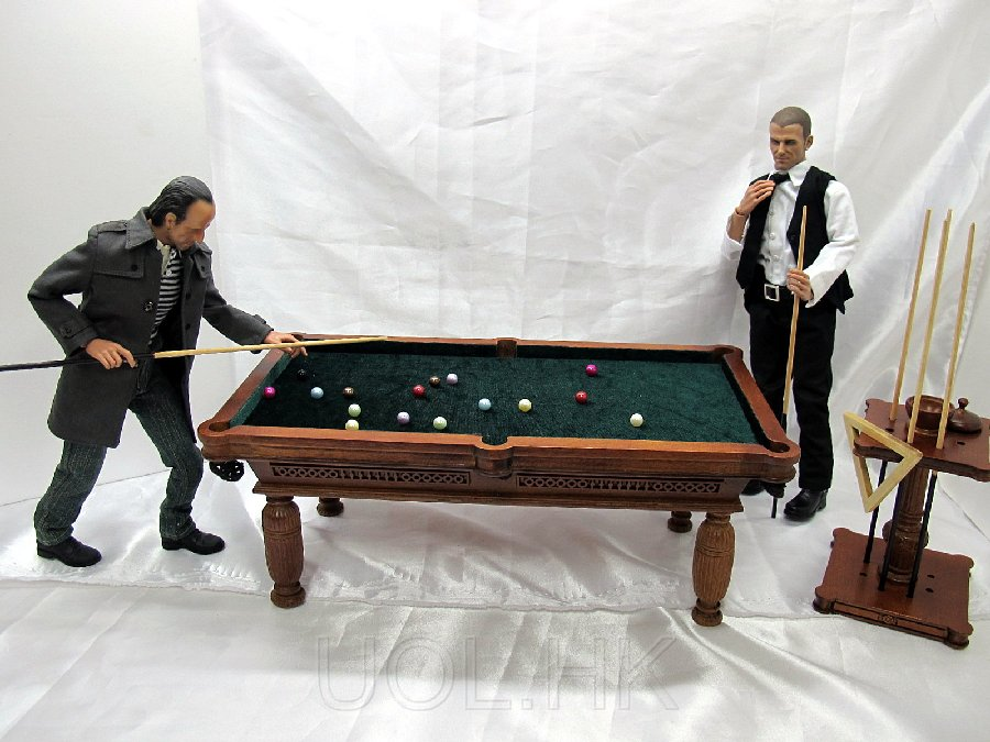 Handmade Wood Billiard Table With Cue Rack For 1:6 Scale Figure
