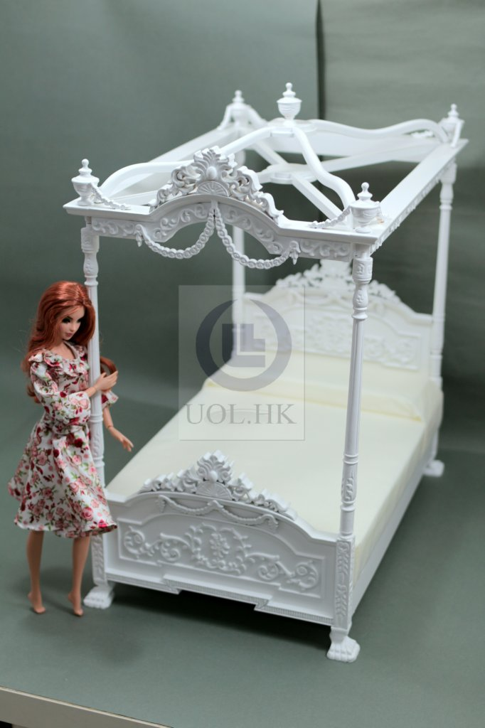 Miniature 1:6 Scale White Bed For Barbie Doll(Self assembled)