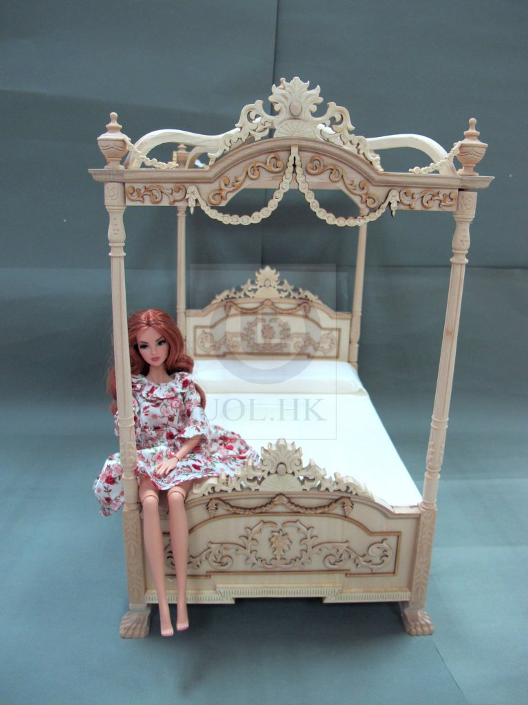 Wooden 1:6 Scale Miniature Bed For Barbie [Unfinished]