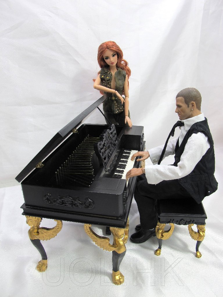 1:6 Scale Victorian Black Piano With Stool For Barbie/FR Doll