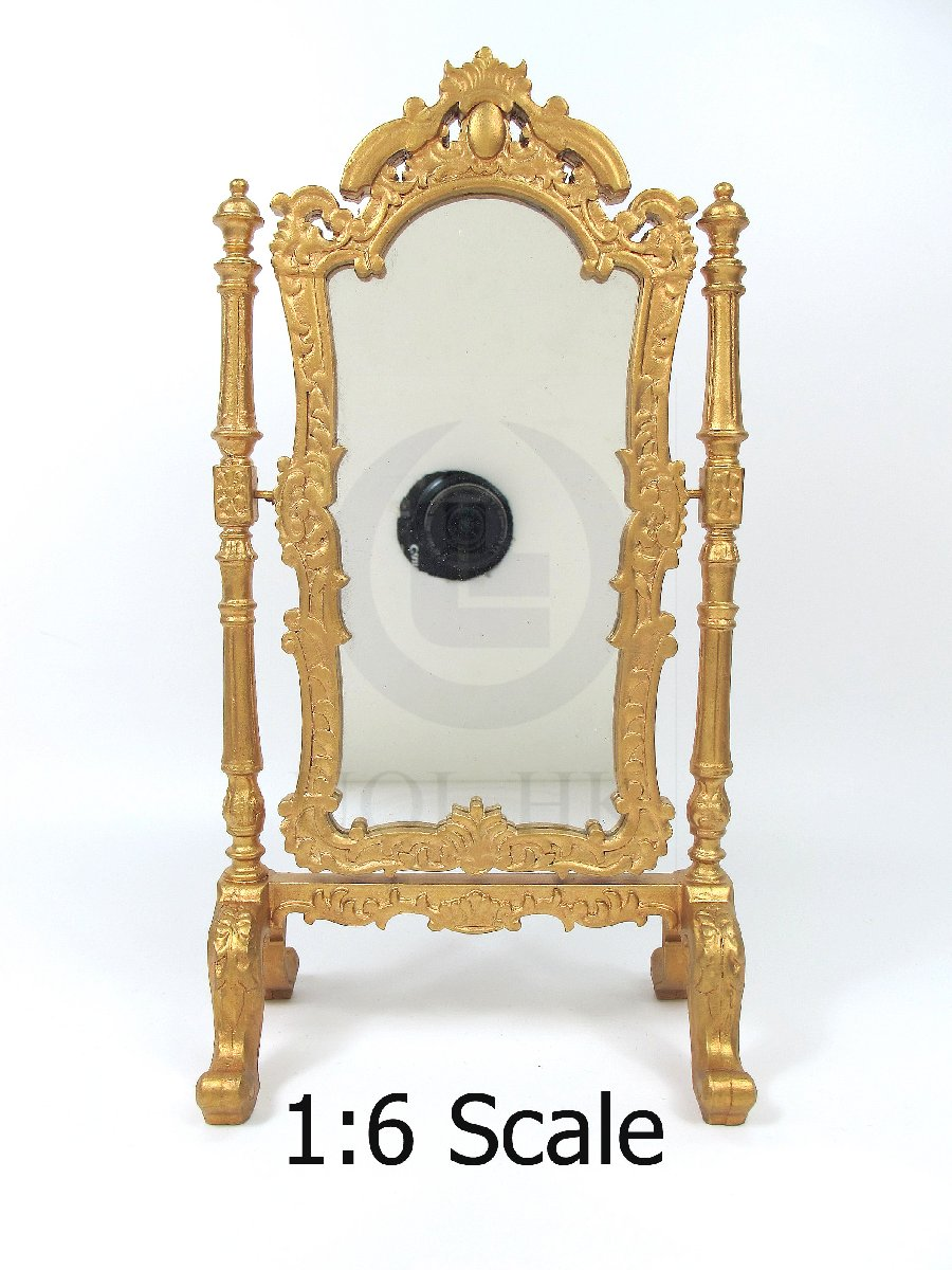 Miniature 1:6 Scale Wooden Mirror For Barbie [Golden]