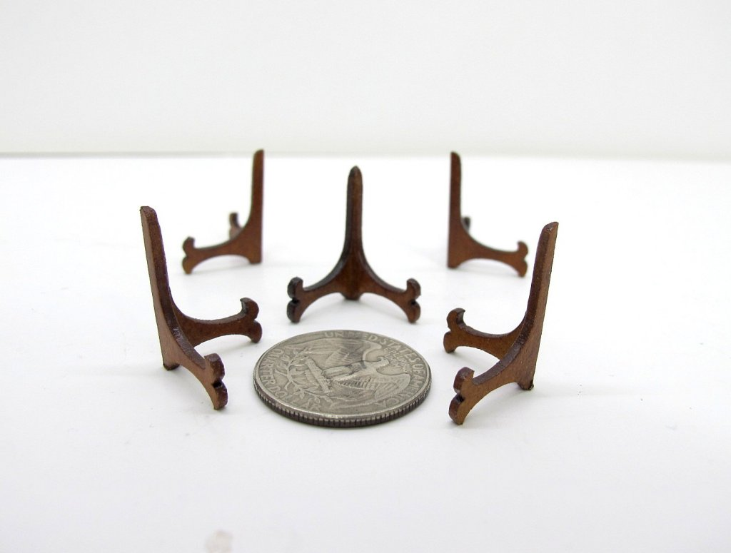 5 Wooden Plate Holders For 1:12 Scale Doll House