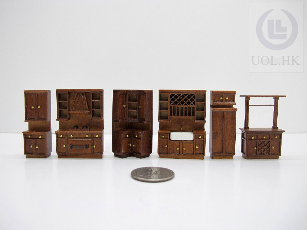 1:48 Scale Miniature kitchen (6pcs) Finished In Walnut