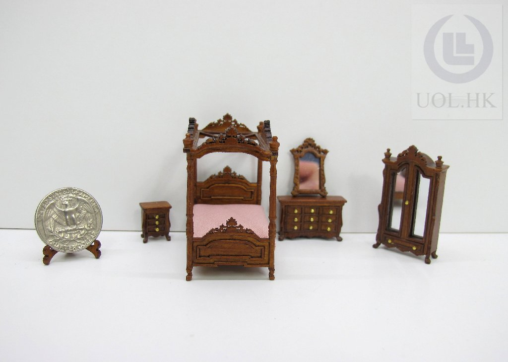 1:48 Scale Miniature Bedroom --5 pieces whole set