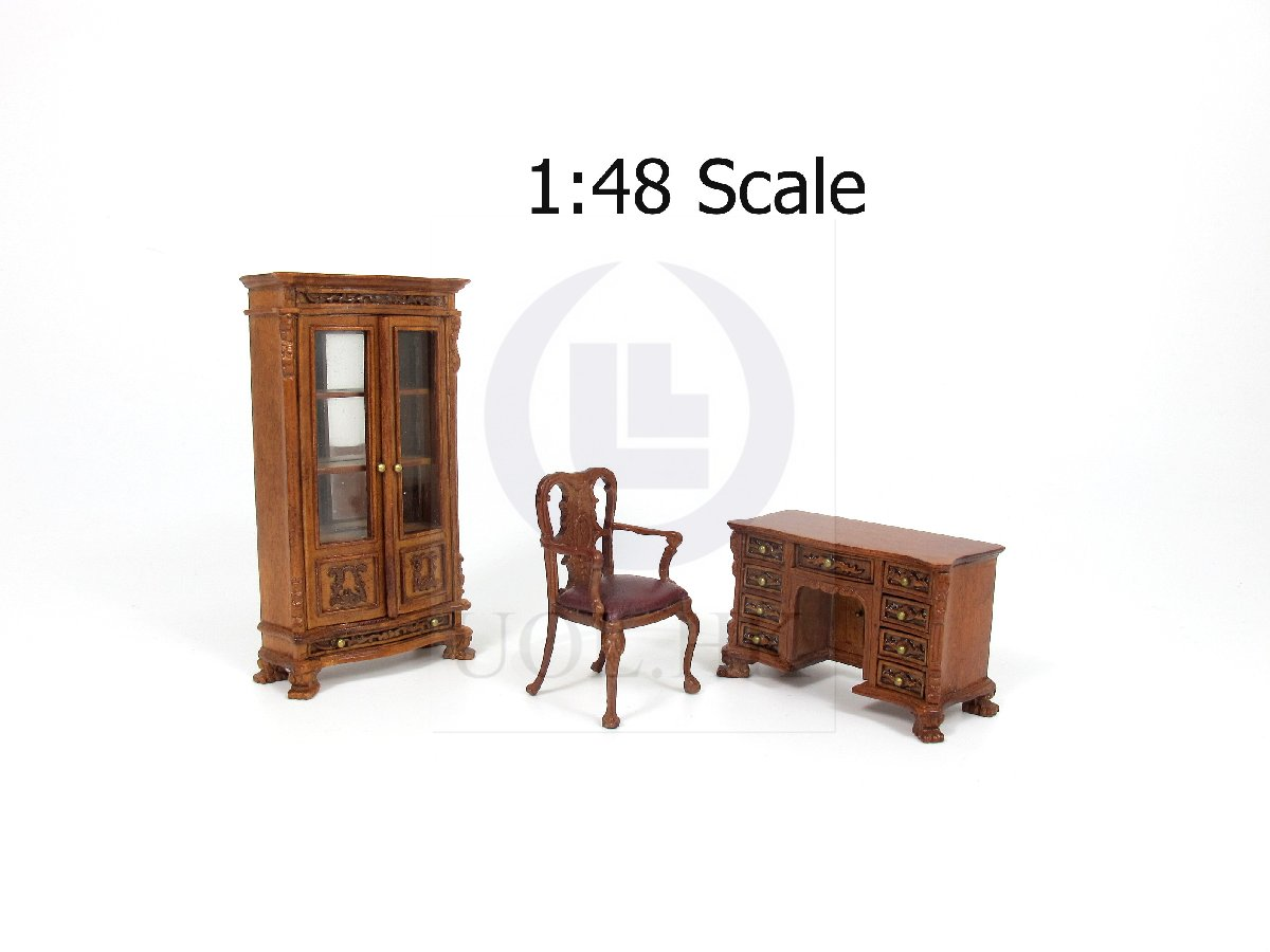 1:48 Quarter Scale Miniature 3pcs Office Furniture For Dollhouse