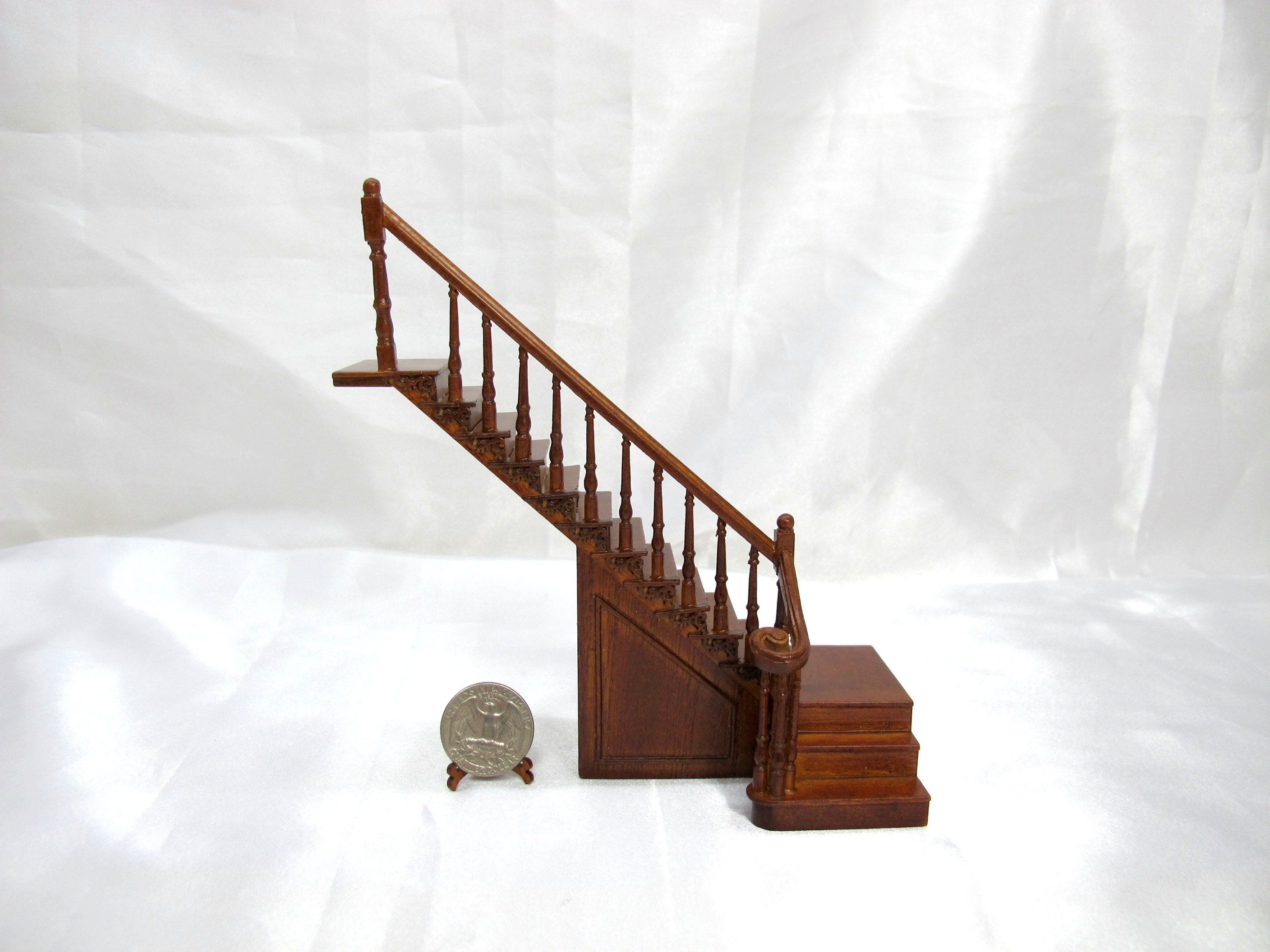 1:24 Scale Wood Carved Left Landing Staircase --Walnut