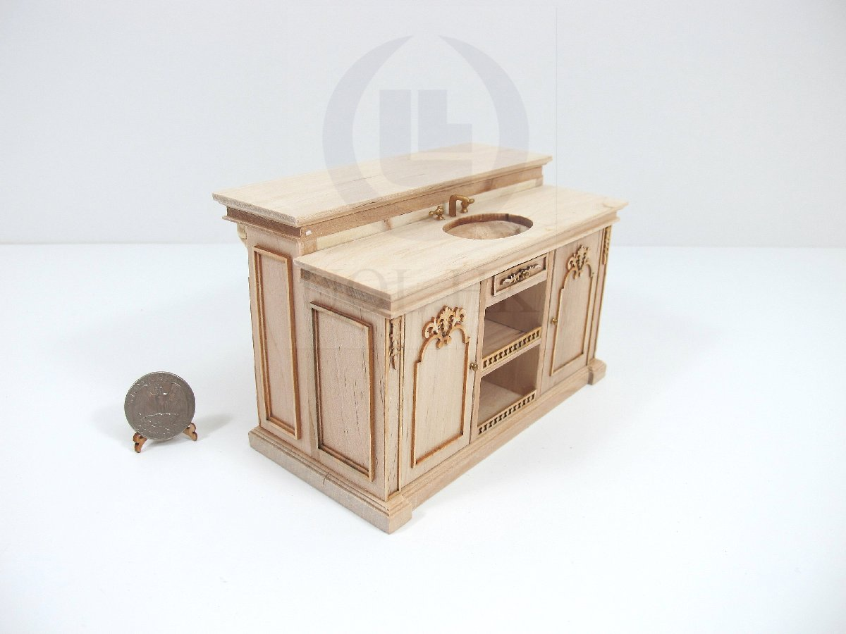 miniature 1 12 scale french provincial sink kitchen island unfinished kitchen island unfinished kitchen islands