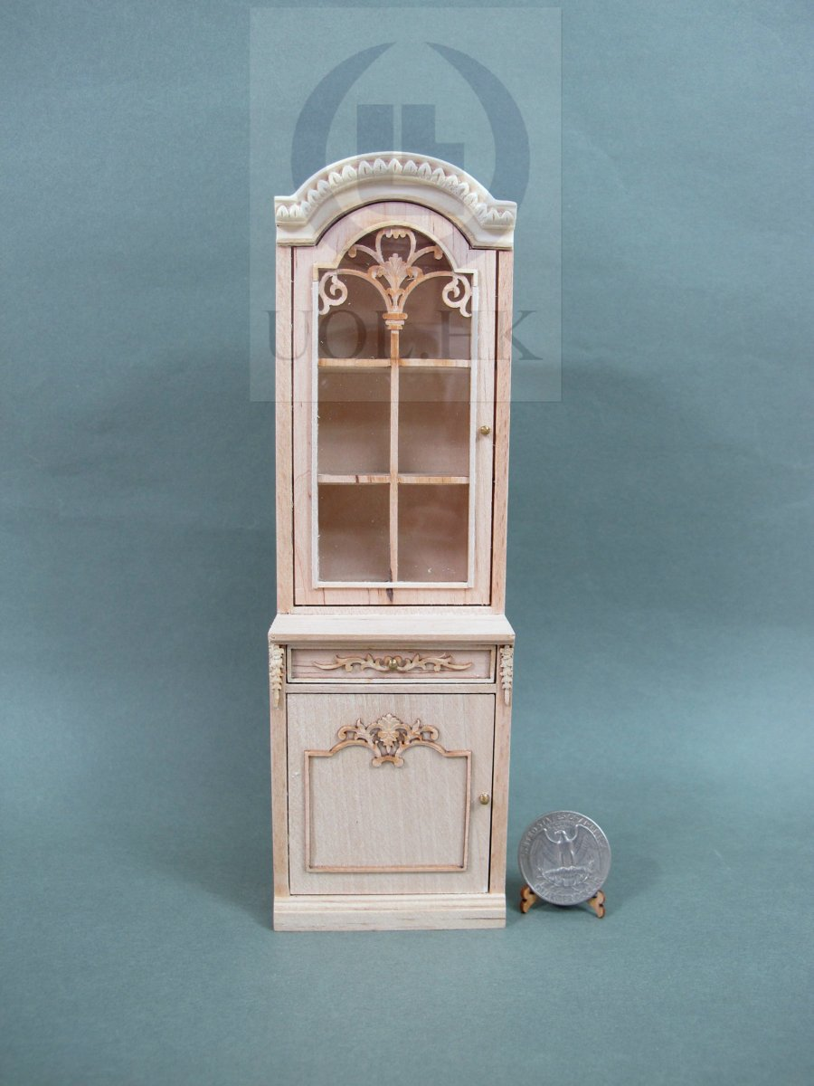Dollhouse 1:24 Scale Miniature Right Opening Display Cabinet Unfinished