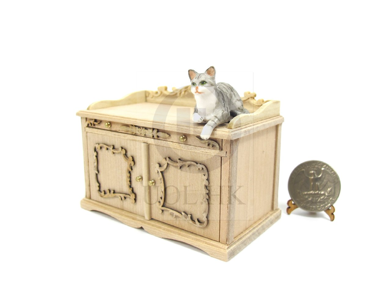 1 12 scale cat litter box cover and cabinet for doll house unfinished ebay. Black Bedroom Furniture Sets. Home Design Ideas