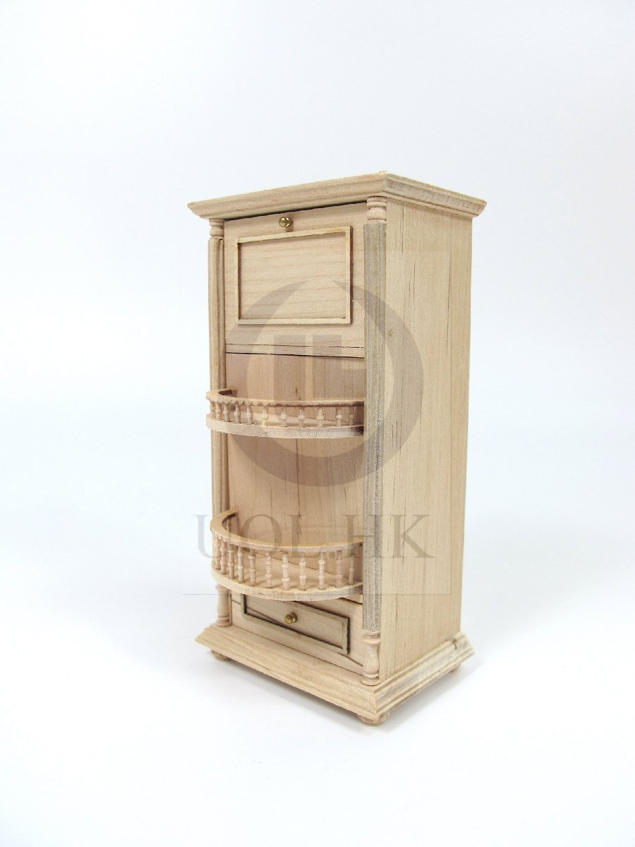 Unfinished Miniature Wooden 1:12 Scale Wine Spirits Storage Bar Cabinet