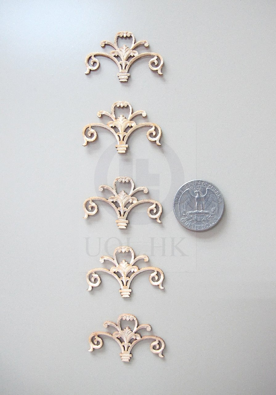 1:12 Scale Miniature Woodworking Decorative Carved Trim-03[5pcs]