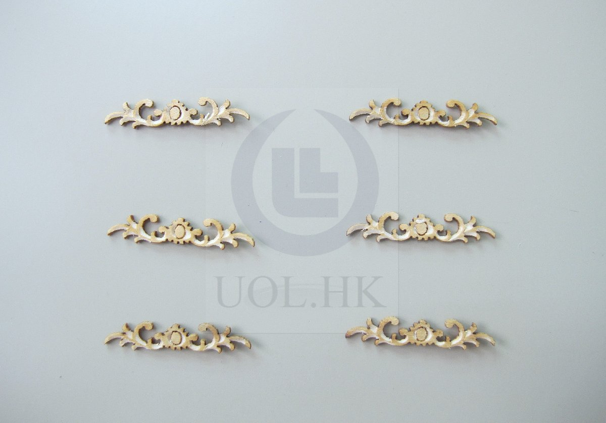 1:12 Scale Miniature Woodworking Decorative Carved Trim-04[6pcs]