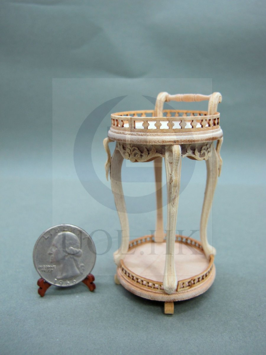 "Wooden 1"" Scale Miniature Tea Trolley For Doll House[Unpainted]"